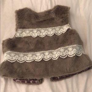Karlie Jackets & Coats - Faux Fur Vest with Lace Details
